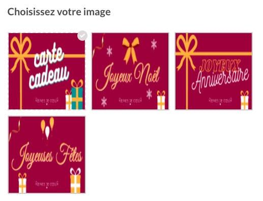 Comment offrir une carte cadeau : Carte cadeau, voici les différents visuels disponibles.